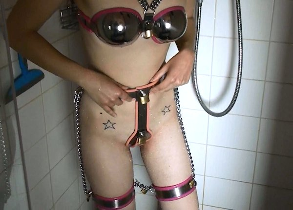 Locked her chastity belt erotic