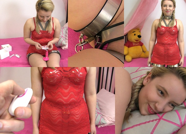 dildo locked in chastity girl